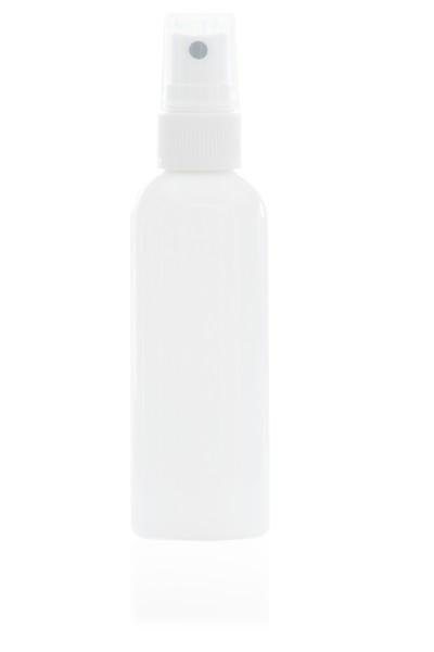 100 ml Rundflasche PET weiß mit Sprühpumpe