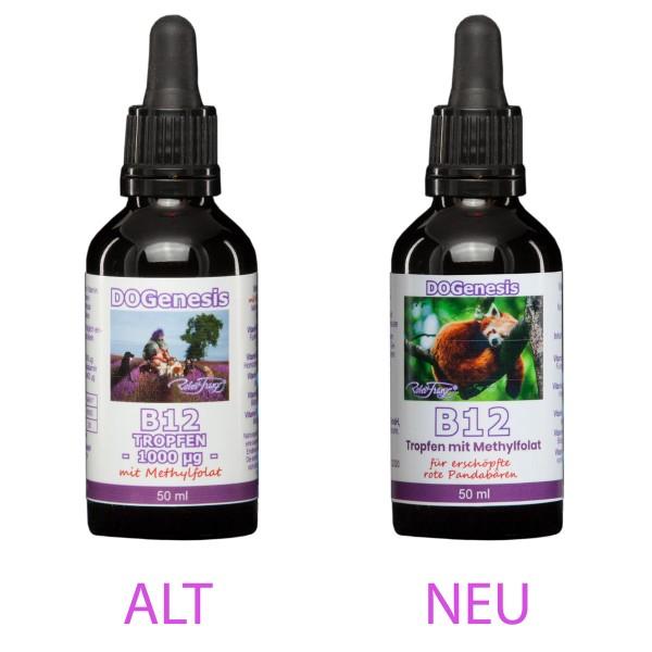 Vitamin B12 Tropfen mit Methylfolat für erschöpfte rote Pandabären – 50 ml – von Robert Franz