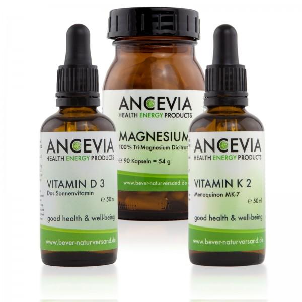 Ancevia® Vitamin D3 + K2 + Magnesium im Set